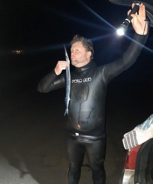 Strømfyldt – Hornfisk fanget af Jesper Nordin ved Smidstrup Strand om natten