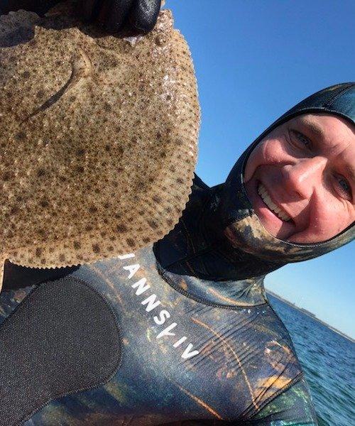 Pighvar fanget af Morten Rosenvold Villadsen ved Køge bugt om dagen