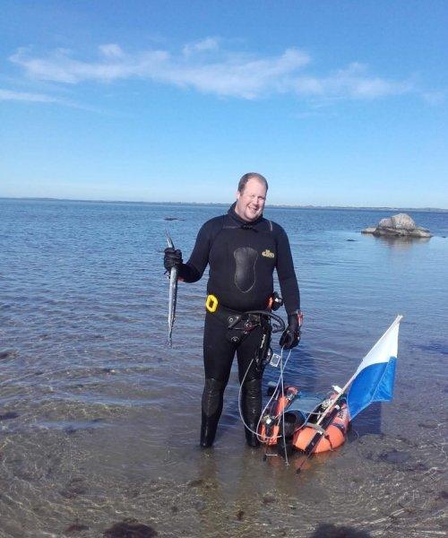 Spydfisk-på spyd – Hornfisk fanget af Klaus Mulvad ved Syd langeland om dagen